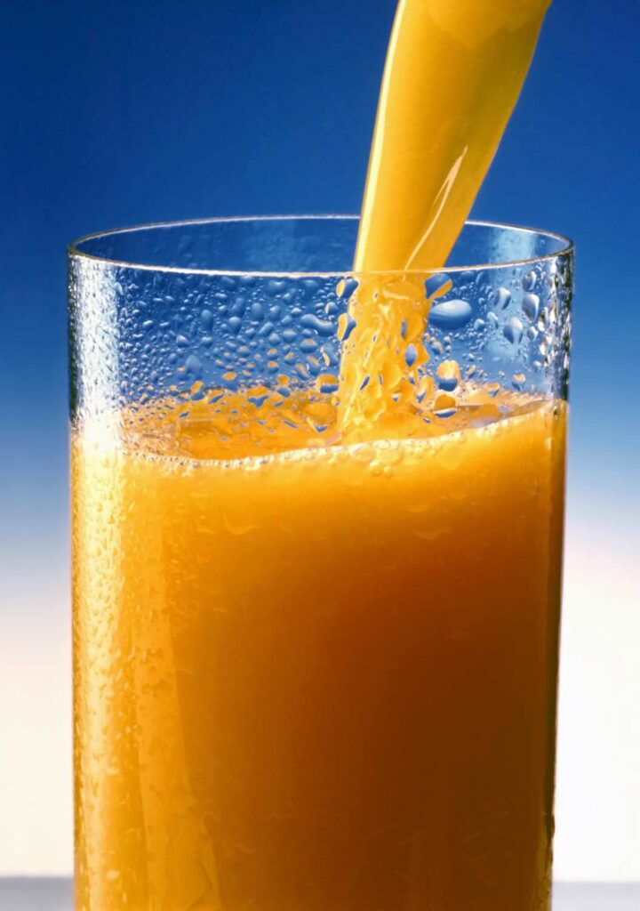 Orange juice vitamins drink