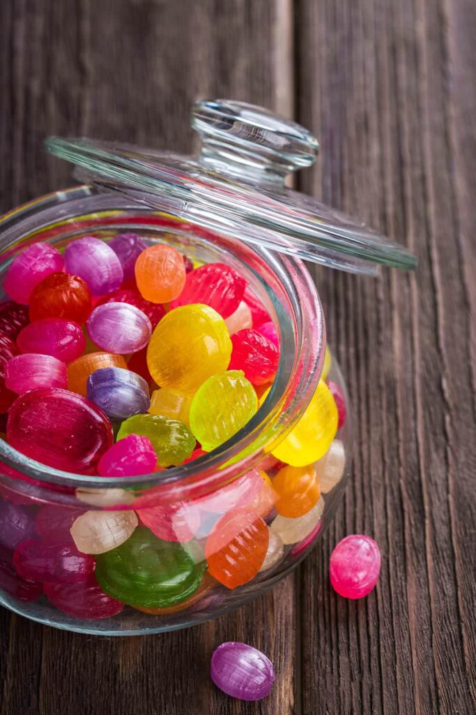 Colorful candy in a jar