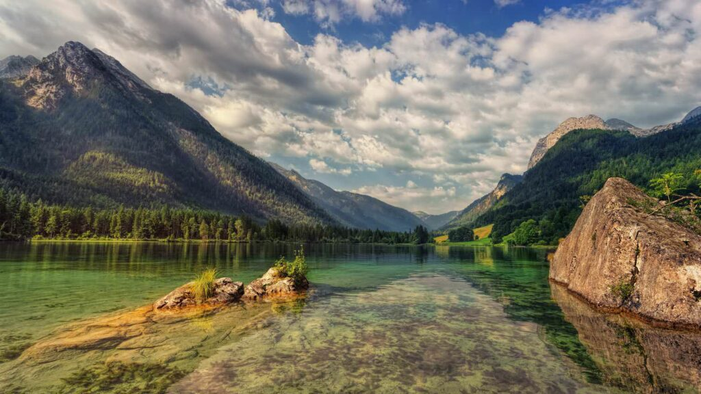 Lake hintersee alpine landscape