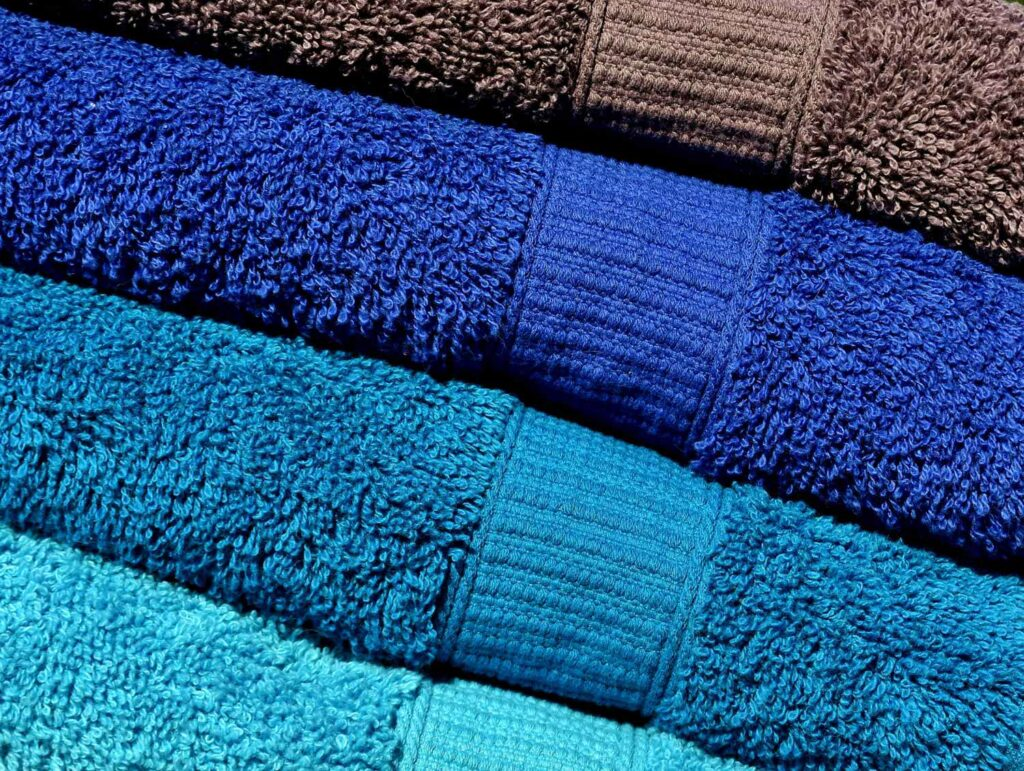 Colorful towels on board